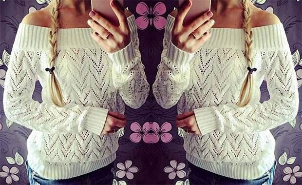 Ажурный пуловер спицами. Схема
