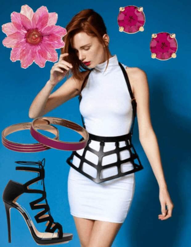 Белое платье, чёрная портупея, босоножки, серьги, заколка для волос