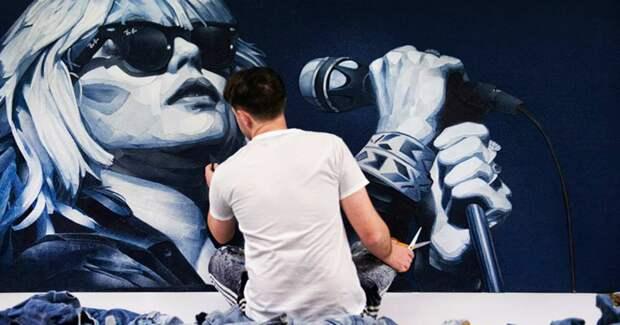 14 реалистичных портретов знаменитостей из джинсовой ткани