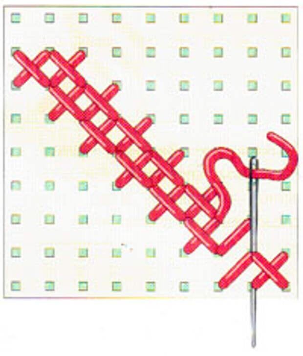 Вышивка крестиком по диагонали. Двойная диагональ справа налево (фото 16)