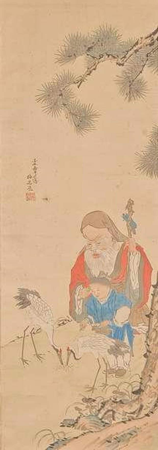 Sennin mit Karako und zwei Kranichen (216x613, 91Kb)