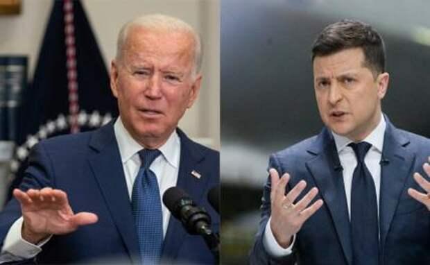 На фото: президент США Джо Байден и президент Украины Владимир Зеленский (слева направо)