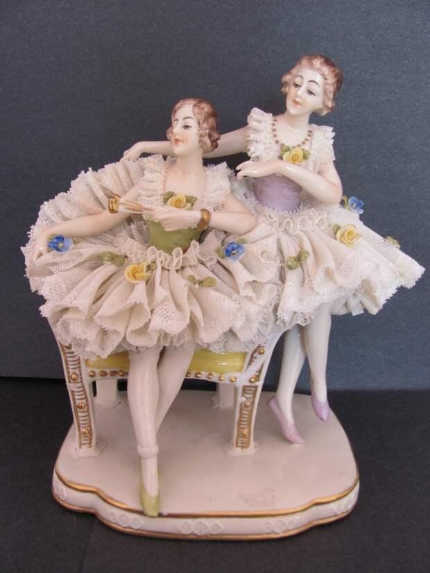 Vintage Ackerman & Fritze #Dresden Porcelain Lace Group Figurine Ballerinas