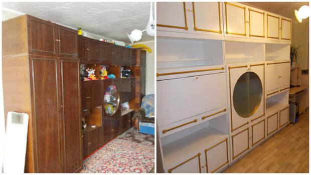 После долгих сомнений она рискнула и перекрасила старую стенку мебель, новая жизнь, переделка, старье