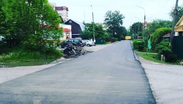 Укладку асфальта завершают на улице Орджоникидзе в Подольске