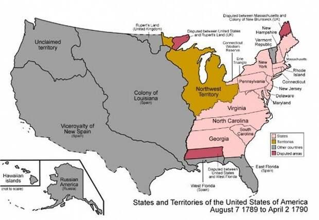 Северо-Западная территория на карте США по состоянию на конец 1890-х годов (фото взято с сайта ru.wikipedia.org
