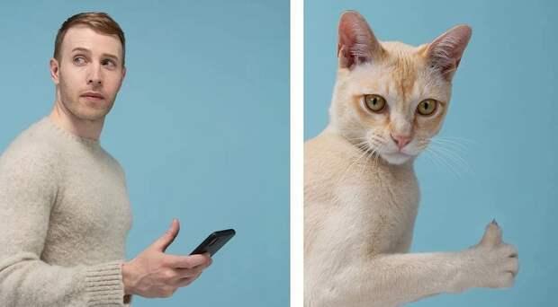 Почти неотличить: фотограф показал, как похожи коты сосвоими хозяевами
