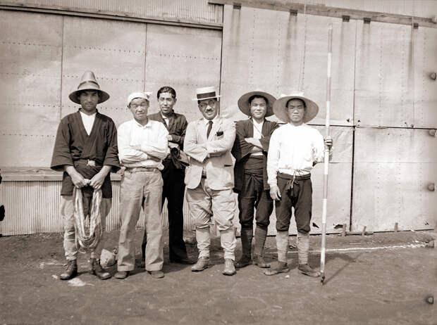Men at a 1930s Japanese Glider Hangar