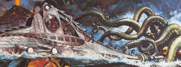 Экипаж Наутилуса сражается в гигантским кальмаром.