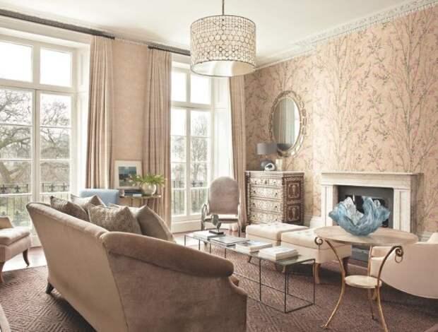 стиль модерн в гостиной как скомбинировать обои