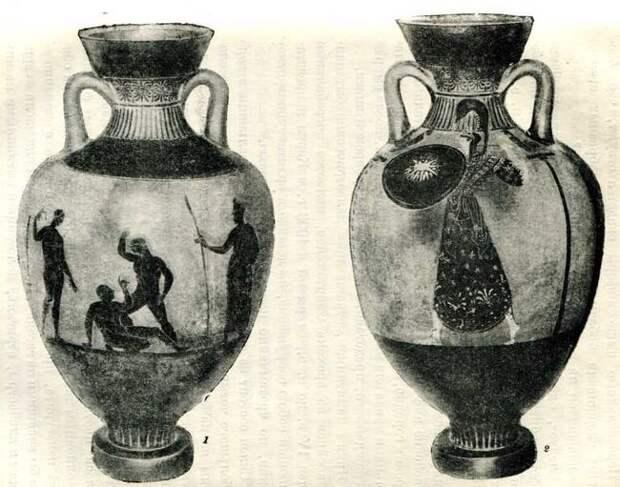 Панафинейская амфора, найденная в кургане у станицы Елизаветинской, Конец V в. до н. э. (Эрмитаж).