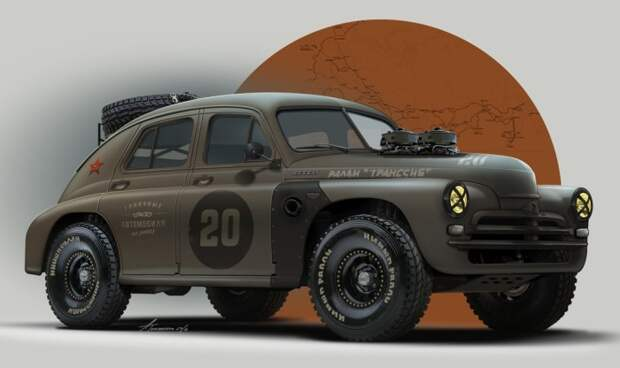 10. ГАЗ-М-20 «Победа» СССР, авто, арт-картина, прототип, художник