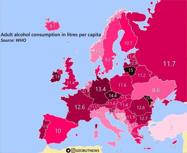 Потребление спиртного в Европе, миф о русском пьянстве и запрет спортивной алкорекламы