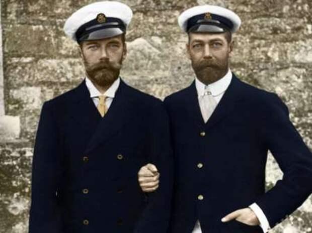 1. Всероссийский Император Николай II со своим двоюродным братом Английским Королём Георгом V. интересное, исторические фото, история, фото