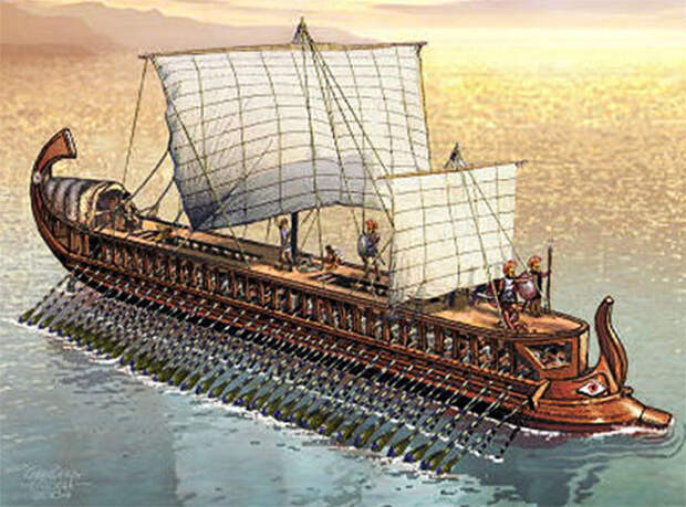 Неизвестный художник. Трирема — судно, которое часто использовали киликийцы