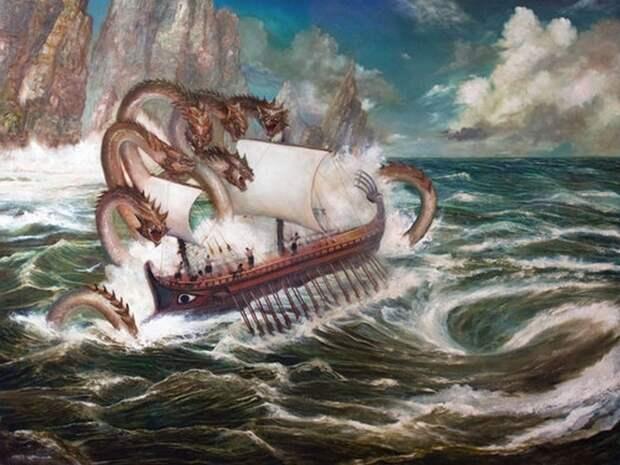 Сцилла, нападающая на корабль.