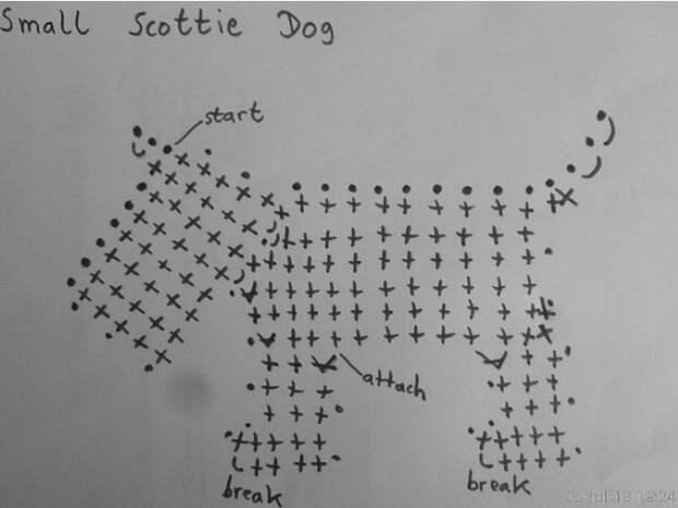 Маленькая собачка крючком схема