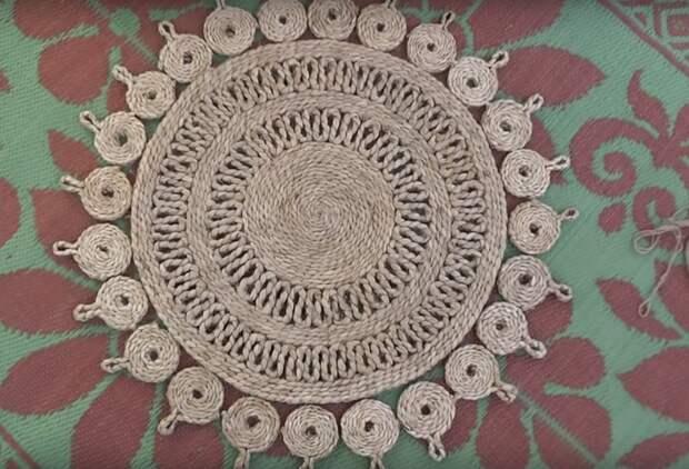 Джутовый коврик невероятной красоты своими руками