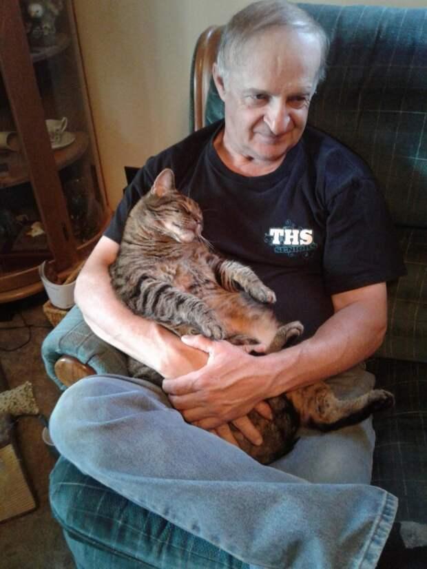 10 лет каждое утро котик приходит обнять своего хозяина