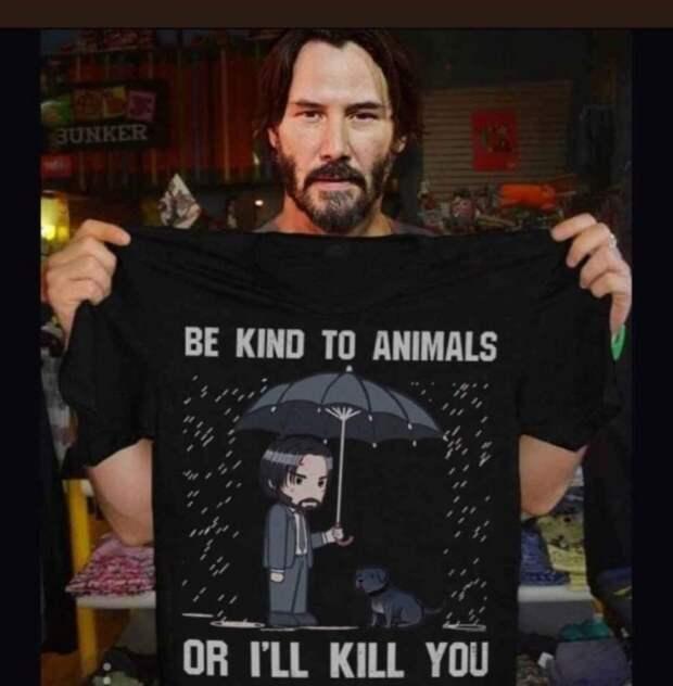 """Киану Ривз: """"Будьте добры с животными или я убью вас"""""""