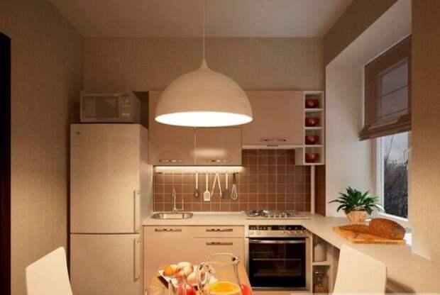 В угловом расположении мебели органично задействован подоконник.