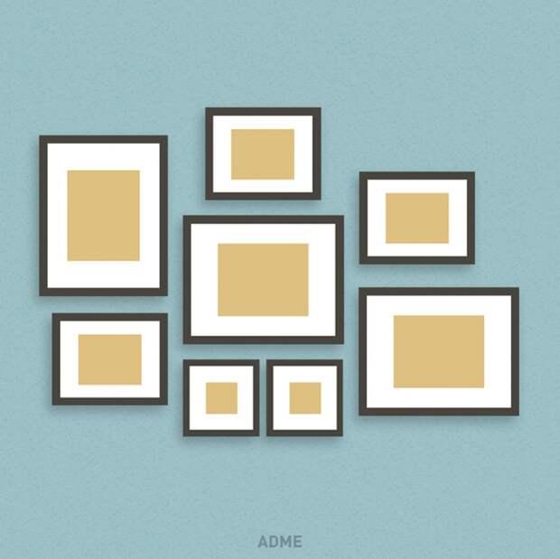 6 крутых идей, как развесить рамки с фотографиями