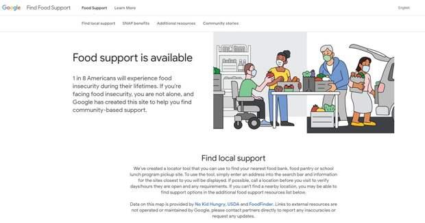 Google запускает поиск бесплатной еды
