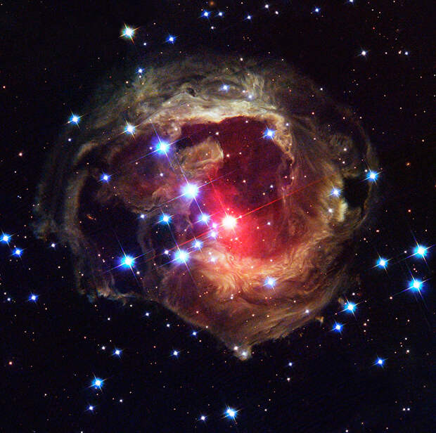 The Hubble Space Telescope's latest image of the star V838 Monocerotis (V838 Mon) reveals dramatic changes in the illumination of surrounding dusty cloud structures. The effect, called a light echo, has been unveiling never-before-seen dust patterns ever since the star suddenly brightened for several weeks in early 2002.
