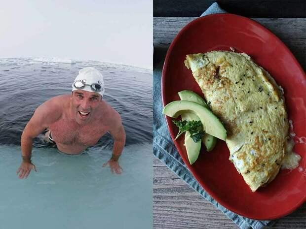 Британец Льюис Пух, проплывший 140 километров вокруг Мальдив и километровую гонку в холодной воде у подножия Эвереста, считает особо важным питательный завтрак. После полуторачасового разминочного заплывы в Атлантическом океане он предпочитает омлет с сыром и семгой, йогурт и клубнику.
