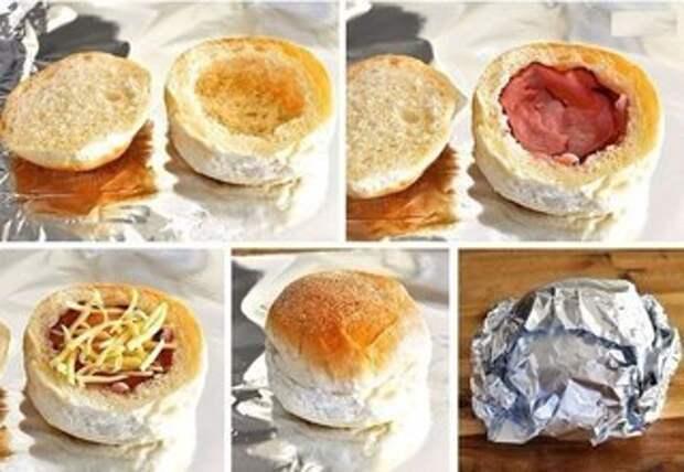 Горячие булочки с яйцом, сыром и ветчиной. Просто объедение