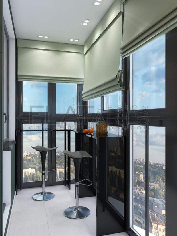 Дизайн-проект двухкомнатной квартиры, барная стойка на балконе, панорамное остекление