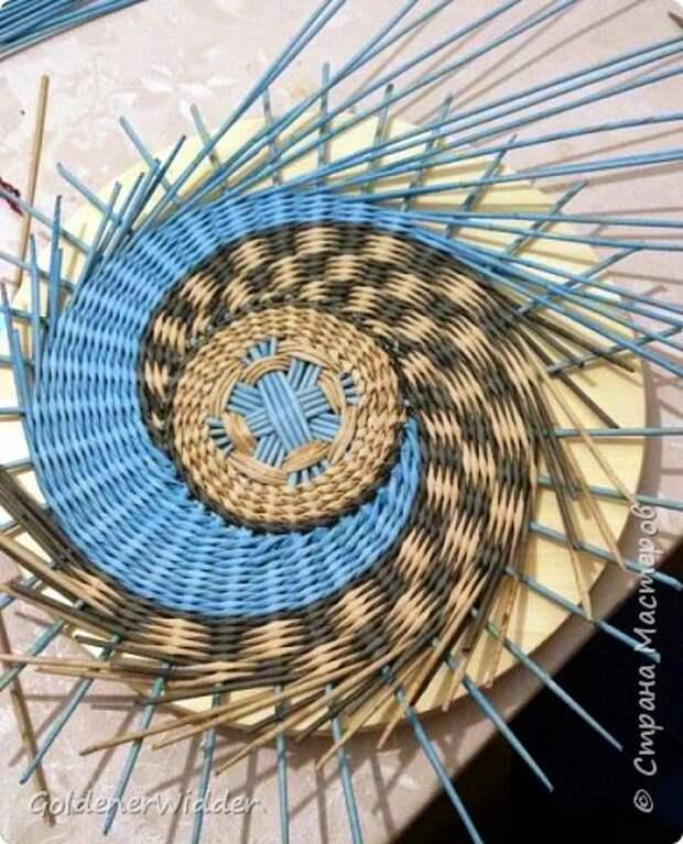 Мастер-класс Плетение Панно 40 см Спиральное плетение Бумага газетная Трубочки бумажные фото 19