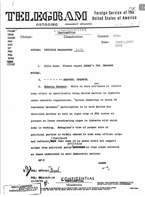 Антикоммунистический геноцид в Индонезии: Рассекреченные документы ЦРУ и новые подробности