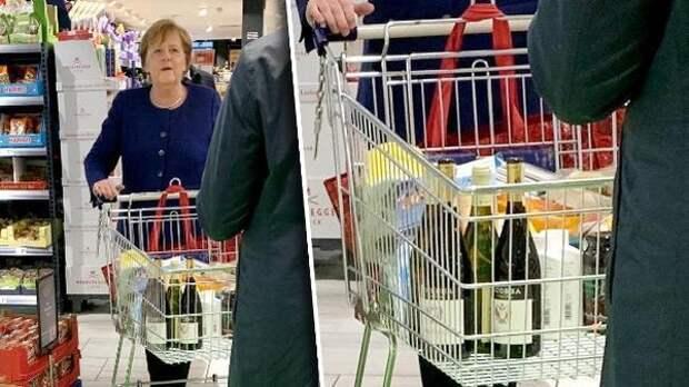 Ангелу Меркель застали за покупкой вина, мыла и туалетной бумаги