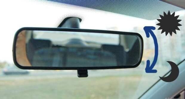 Оказывается, салонное зеркало тоже имеет регулировки. | Фото: funnyreps.info.