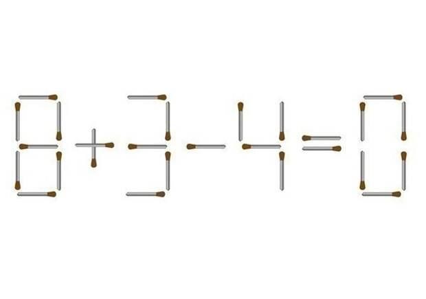 Головоломка со спичками. Справится могут только люди с iq выше 120. Нужно переложить одну спичку так, чтобы получилось верное равенство.