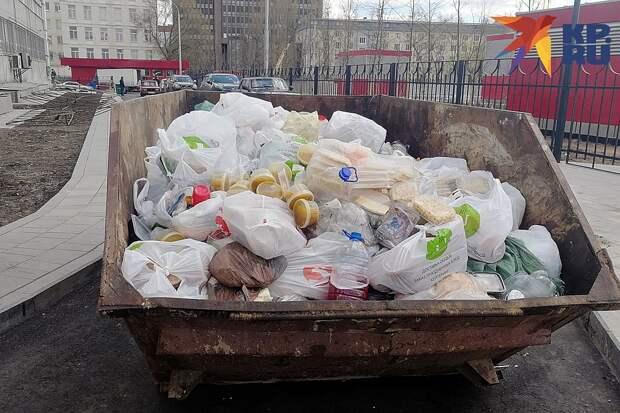 У входа в хостел около новой станции метро «Стахановская», перегородив проезжую часть, стоял огромный мусорный контейнер, доверху набитый едой Фото: Владимир ПЕРЕКРЕСТ