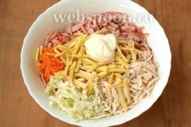 Соединить в глубокой салатнице капусту, ветчину, курицу, корейскую морковь и блинчики. Добавить майонез.