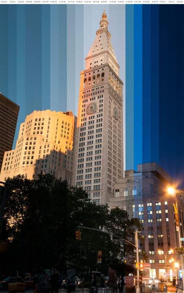 Небоскребы назакате нафото сэффектом таймлапс
