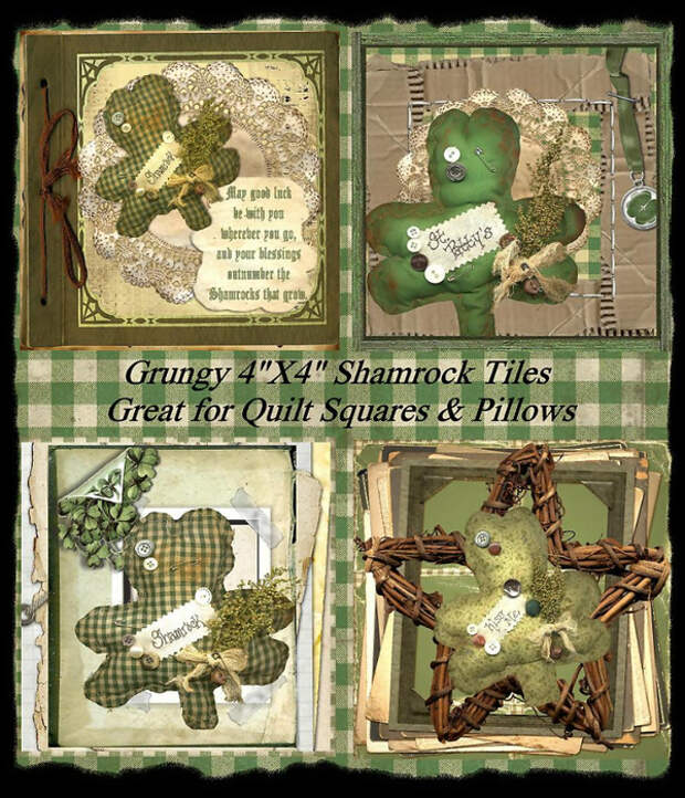 Primitive_Grungy_St._Patricks_Day_Shamrock_Tile_Sample (600x700, 550Kb)