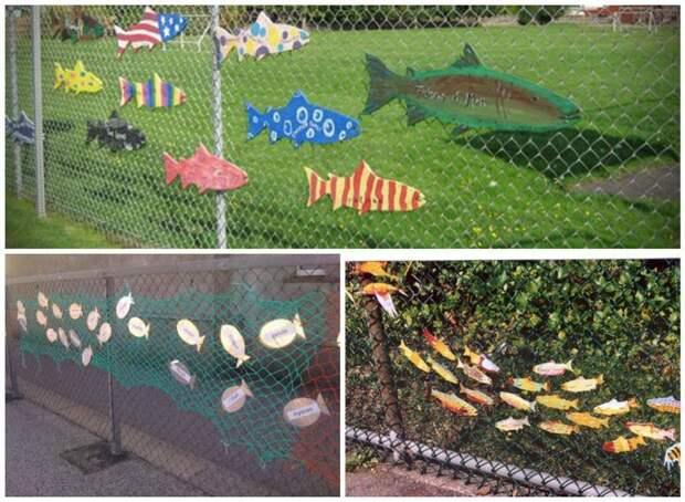 Забор для рыбака Фабрика идей, дача, забор, сетка Рабица, украшение
