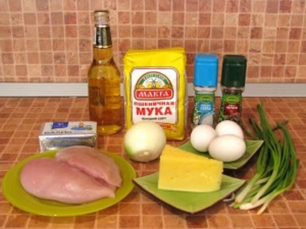 Пирог с мясом, луком, яйцами и сыром. Ингредиенты