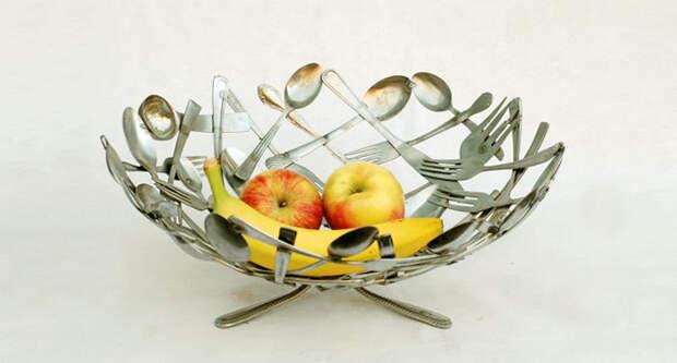 18. Миска для фруктов из столовых приборов винтаж, посуда, совет, хитрости