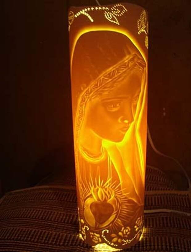 детский светильник Дева Мария, вырезанный на пвх трубе