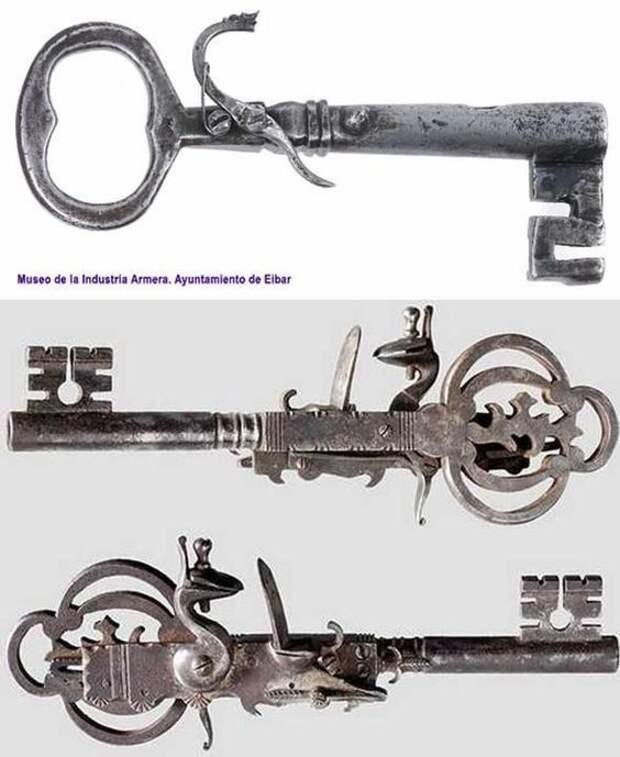 Необычное оружие - 1600г. - ключи тюремщиков были заполнены порохом, тем самым создавая примитивный пистолет, который выстреливал, если случались проблемы с открытием камеры. искусство, огнестрел, оружие, старинное