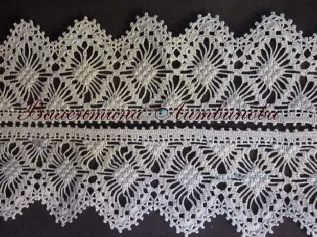 Вязание крючком кружева - работа Валентины Литвиновой вязание и схемы вязания