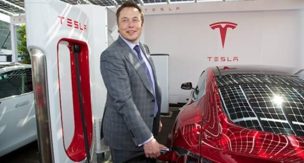 CEO Elon Musk at first UK Supercharger