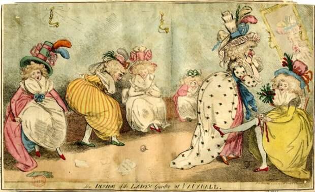 Общественный туалет для дам. Рисунок 1788 года из коллекции Британской библиотеки.