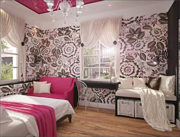 Интерьер комнаты девушки, яркий интерьер фото