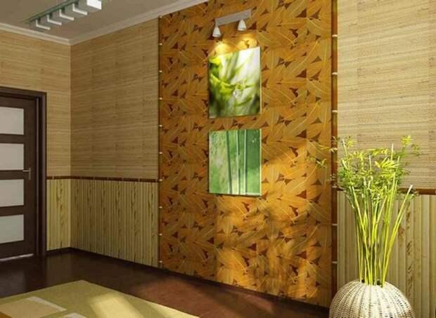 Обои из бамбука в коридоре фото